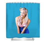 Navy Pinup Woman Shower Curtain