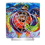 Neon Sea Turtle Wake And Drag Shower Curtain