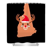 New Hampshire Christmas Antler Red Nose Reindeer Shower Curtain