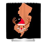 New Jersey Christmas Hat Antler Red Nose Reindeer Shower Curtain