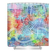 New Orleans Map Watercolor Shower Curtain