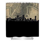 New Orleans Skyline Map Shower Curtain