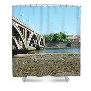 new road bridge across river Tweed at Berwick-upon-tweed Shower Curtain