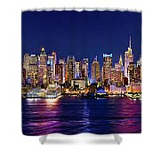 New York City Nyc Midtown Manhattan At Night Shower Curtain