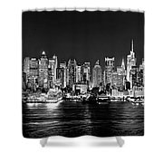 New York City Nyc Skyline Midtown Manhattan At Night Black And White Shower Curtain