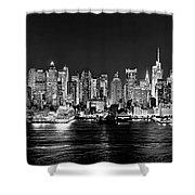 New York City Nyc Skyline Midtown Manhattan At Night Black And White Shower Curtain