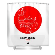 New York Red Subway Map Shower Curtain