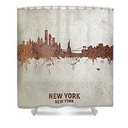 New York Rust Skyline Shower Curtain