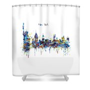 New York Watercolor Skyline Shower Curtain