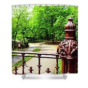 New York's Central Park Winterdale Arch Railing Cast Iron Art Shower Curtain