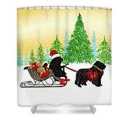 Newfoundland Dog Christmas Shower Curtain