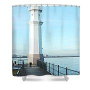 Newhaven Harbour Lighthouse Edinburgh Shower Curtain