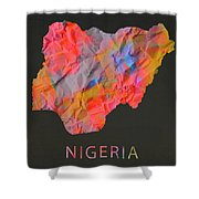 Nigeria Tie Dye Country Map Shower Curtain