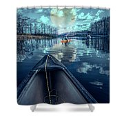 Night Blues Reflections  Shower Curtain