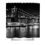 Night Skyline Manhattan Brooklyn Bridge Bw Shower Curtain