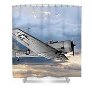 North American T-6 Texan Military Aircraft Shower Curtain