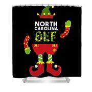 North Carolina Elf Xmas Elf Santa Helper Christmas Shower Curtain