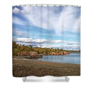 North Shore Black Beach Shower Curtain by Susan Rissi Tregoning
