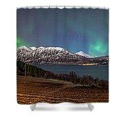 Northern Lights Over Grytoya Shower Curtain
