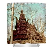 Norwegian Stave Church Shower Curtain