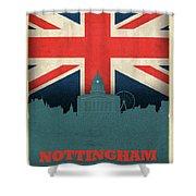 Nottingham England City Skyline Flag Shower Curtain