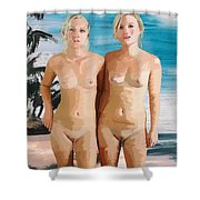 Nude Twins Shower Curtain