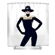 Nude Woman With Hat Shower Curtain