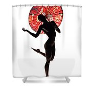 Nude Woman With Red Parasol Shower Curtain