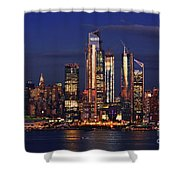 Nyc Sundown Gold And Twilight Skies Shower Curtain