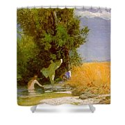 Nymphs Bathing Shower Curtain