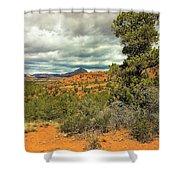 Oak Creek Baldwin Trail Blue Sky Clouds Red Rocks Scrub Vegetation Tree 0249 Shower Curtain