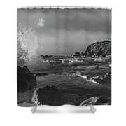 Ocean Splash In Black And White Shower Curtain