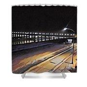 Oceanside Pier At Night  Shower Curtain