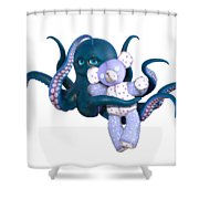 Octopus And Purple Bear Shower Curtain