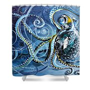 Octopus Of Nine Brains Shower Curtain