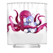 Octopus Pink With Bear Shower Curtain