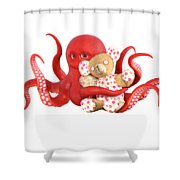 Octopus Red With Bear Shower Curtain