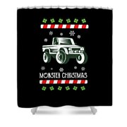 Offroad Monster Truck Christmas Xmas Winter Holidays Shower Curtain