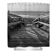 Ogunquit Beach Footbridge At Sunrise Ogunquit Maine Black And White Shower Curtain