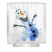 Olaf Watercolor Shower Curtain