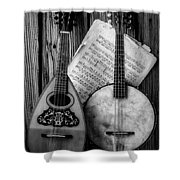 Old Banjo And Mandolin Black And White Shower Curtain