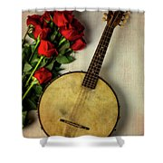 Old Banjo And Roses Shower Curtain