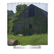 Old Barn And Hay Bales 2 Shower Curtain