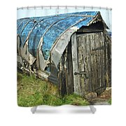 old boat hut at Lindisfarne island Shower Curtain