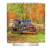 Old Farm Truck Fall Foliage Vermont Square Shower Curtain