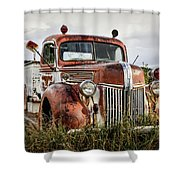 Old Fire Truck In The Mountains Shower Curtain
