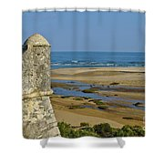 Old Fortress Guarding Tower In Portugal Shower Curtain