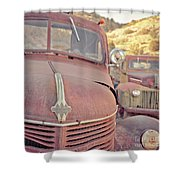 Old Friends Two Rusty Vintage Cars Jerome Arizona Shower Curtain