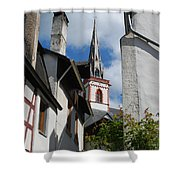 old historic church spire and houses in Ediger Germany Shower Curtain