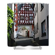 old historic street and woodframed house in Ediger Germany Shower Curtain